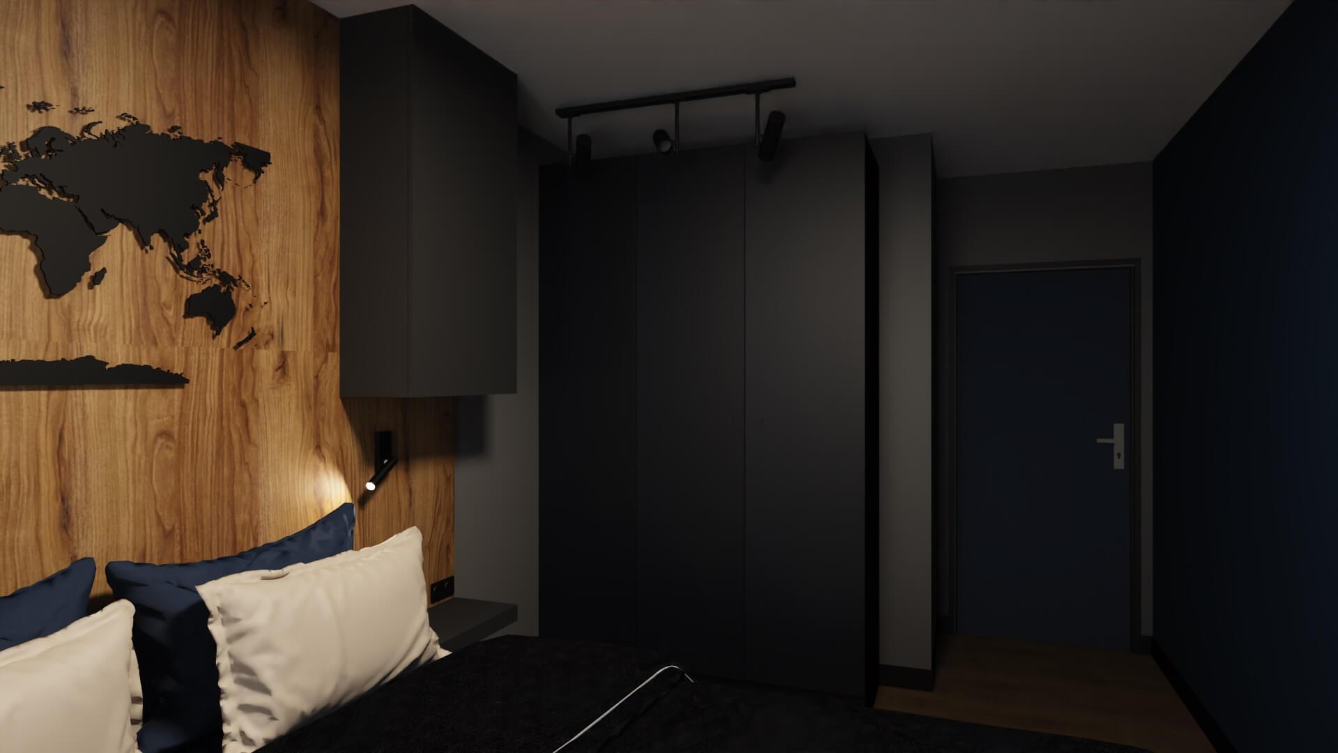 męskie mieszkanie, projekt sypialni - granatowa szafa