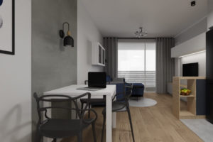 projekt wnętrza mieszkania na wynajem, granatowe dodatki