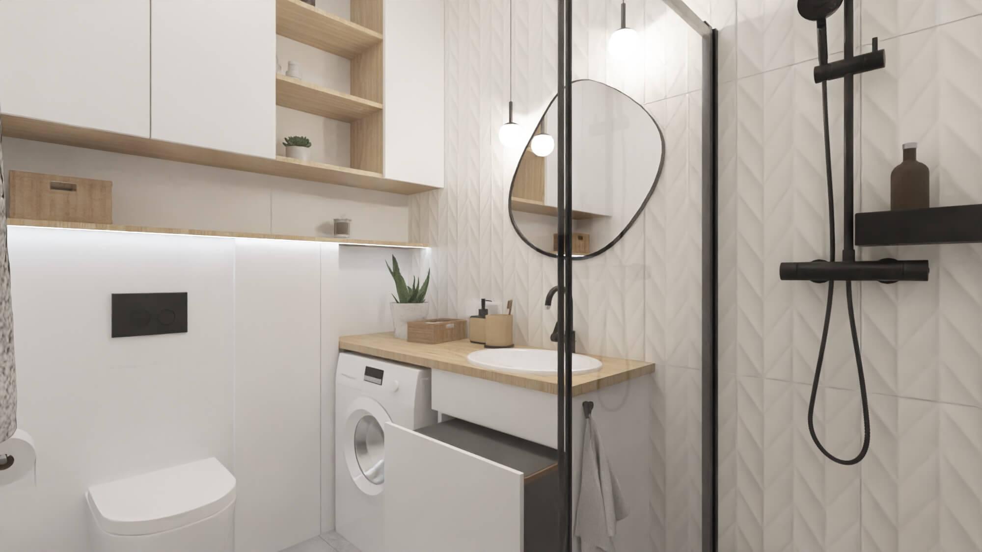 projekt wnętrza mieszkania na wynajem - cargo pod umywalką z koszem na bieliznę