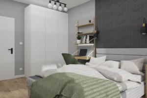 projekt wnętrza mieszkania na wynajem sypialnia z zielonymi dodatkami