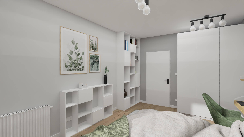 projekt wnętrza mieszkania na wynajem regał i komoda na wymiar
