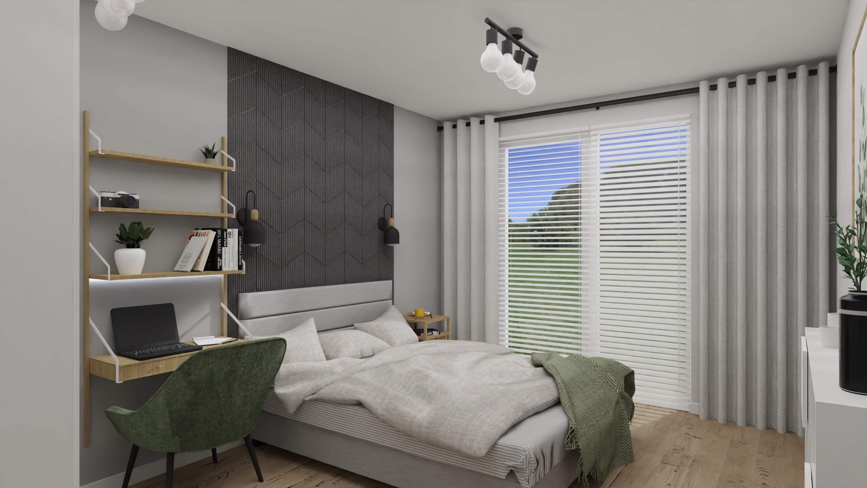 projekt wnętrza mieszkania na wynajem - ściana korkowa w sypialni