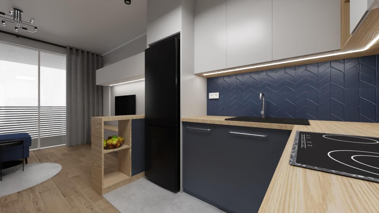 projekt wnętrza mieszkania na wynajem - granatowe płytki jodełka