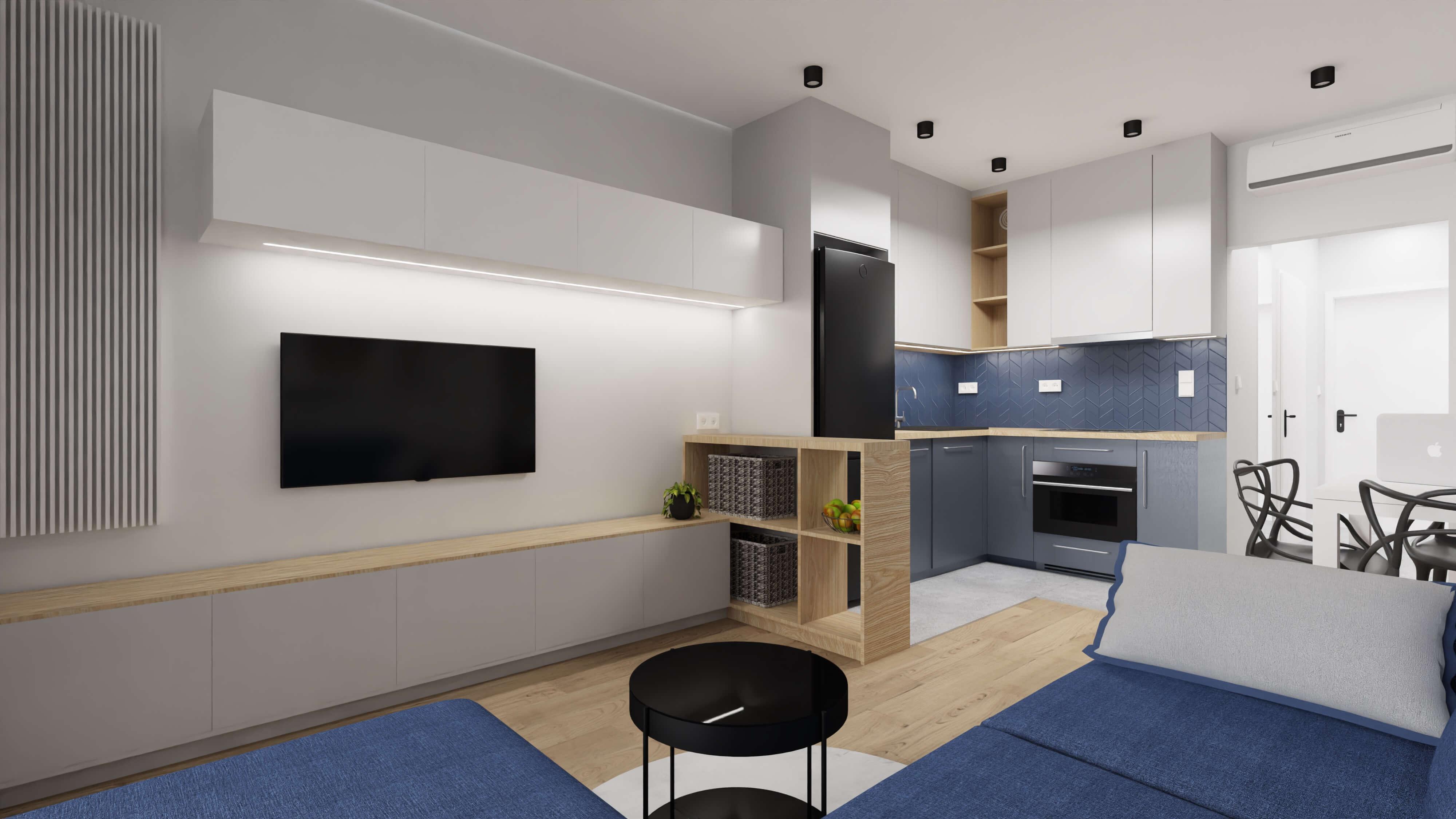 projekt wnętrza mieszkania na wynajem - granatowy salon z kuchnią