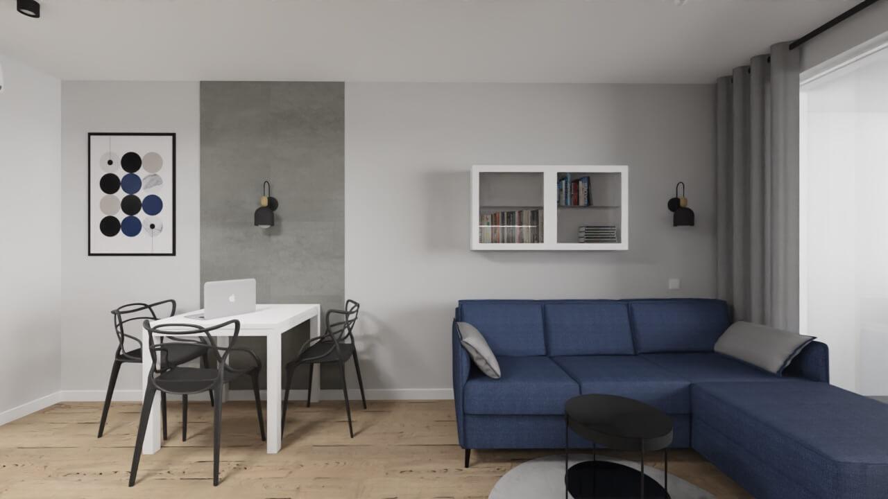 projekt wnętrza mieszkania na wynajem - beton na ścianie, ściana z LVT z imitacją betonu