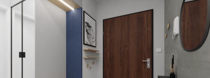 projekt wnętrza mieszkania na wynajem - projekt holu