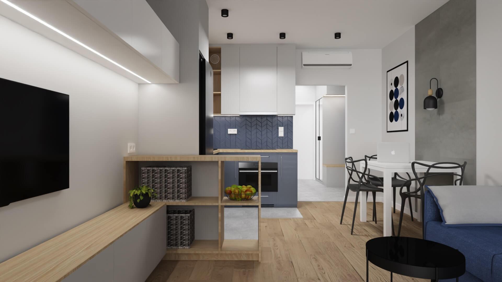 projekt wnętrza mieszkania na wynajem - wyspa między kuchnią a salonem