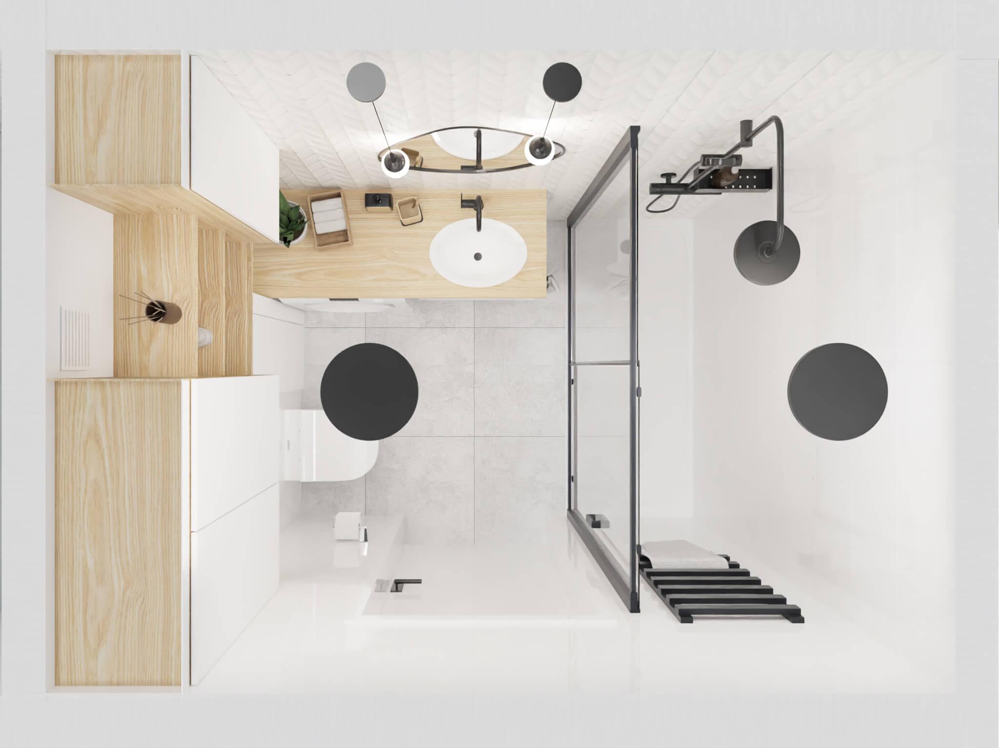 projekt wnętrza mieszkania na wynajem - rzut łazienki