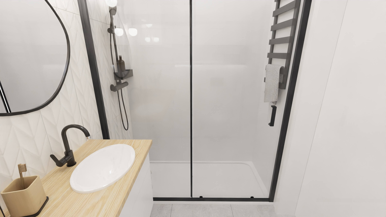 projekt wnętrza mieszkania na wynajem - kabina prysznicowa na całą ścianę