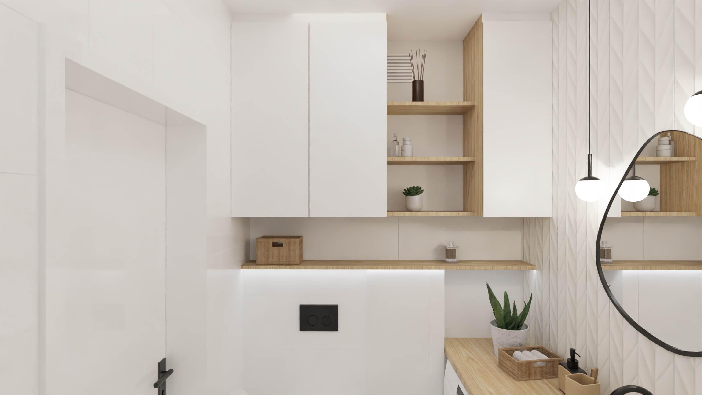 projekt wnętrza mieszkania na wynajem - biała łazienka z elementami drewna