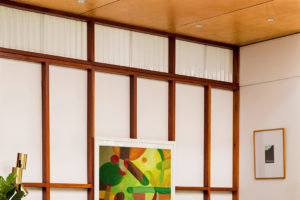 Obraz we wnętrzu - żółto-zielony obraz do salonu w stylu japońskim