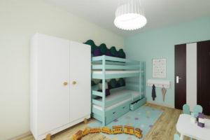 pokój miętowy, pokoik dla chłopca i dziewczynki