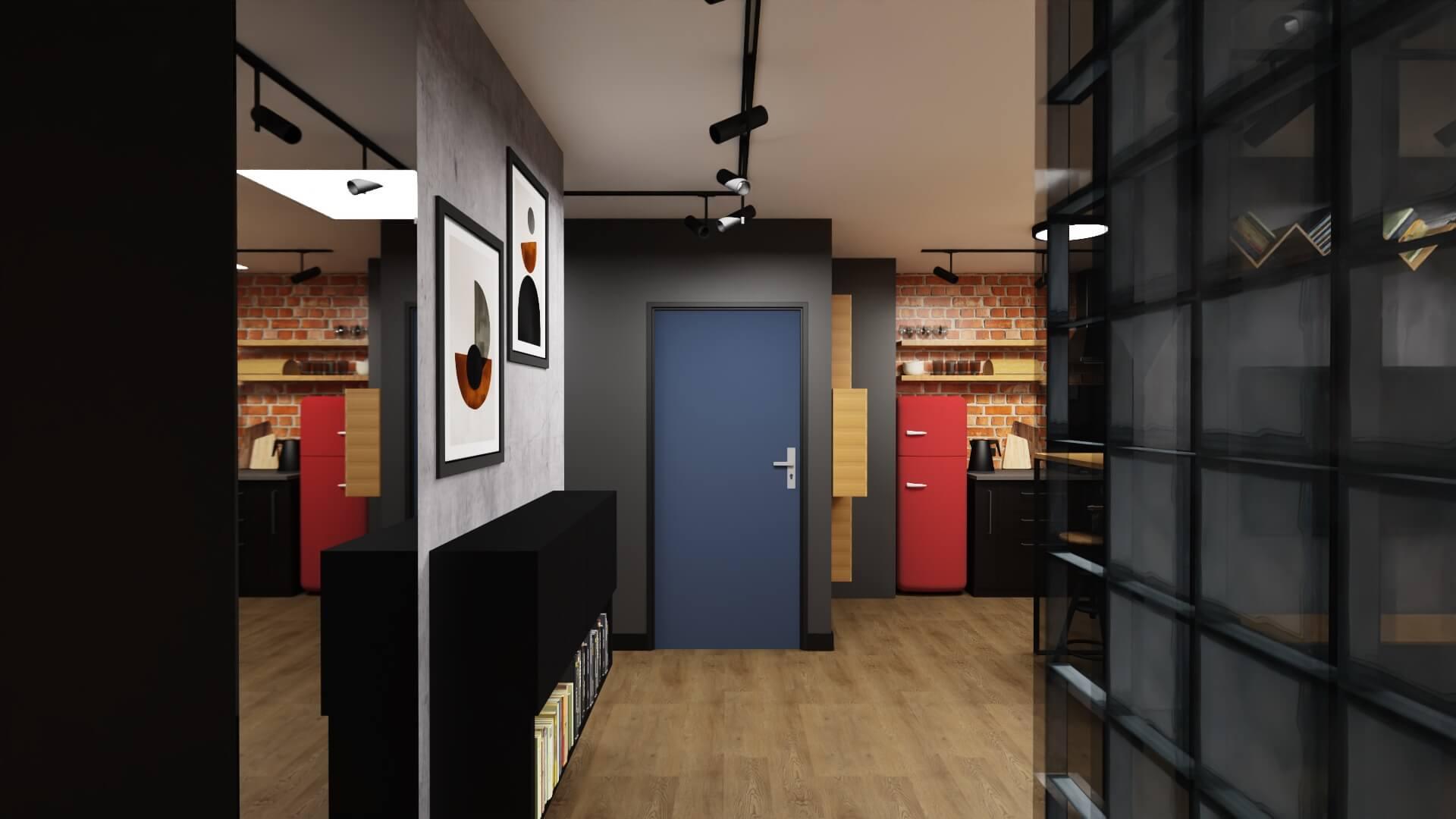 męskie mieszkanie projekt przedpokoju, granatowe drzwi, czerwona lodówka